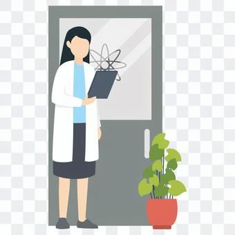 Female doctor with medical record