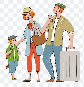 和家人一起旅行