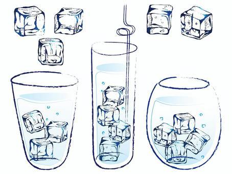 手工繪製的插圖的冰和杯子