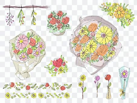 花束插畫裝飾套裝