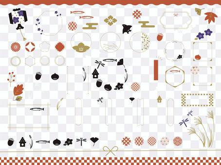 Autumn fashionable Japanese design material set 01