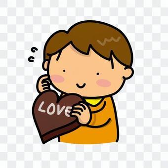 A boy shining with chocolate