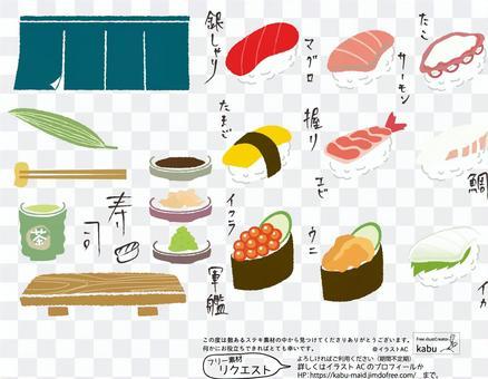 簡單可愛的壽司圖