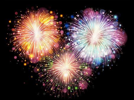 3 colorful summer fireworks background, wallpaper, frame