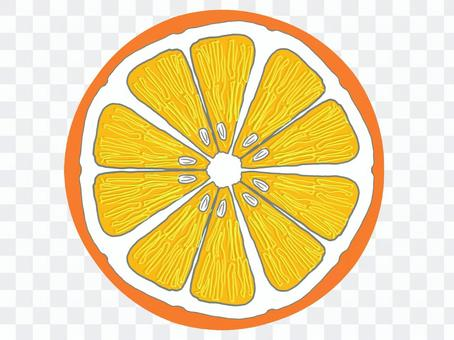 圓形切成薄片的橙色(簡單觸摸