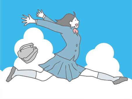 High school girl and sky throwing a bag