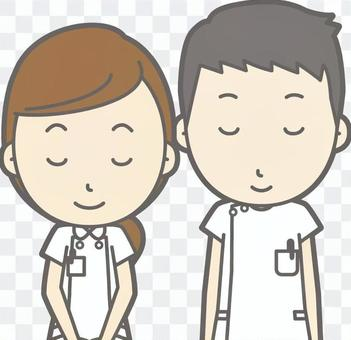 護士男人和女人-叔叔微笑-胸圍