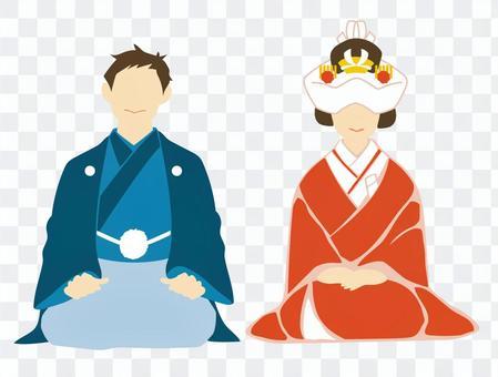 婚禮和服Bunkin高島田(Tsunokakushi)