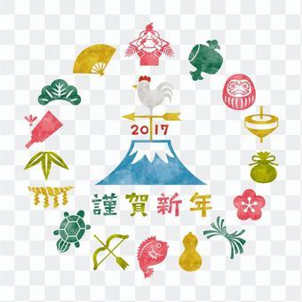 2017年公雞/新年賀卡/風標