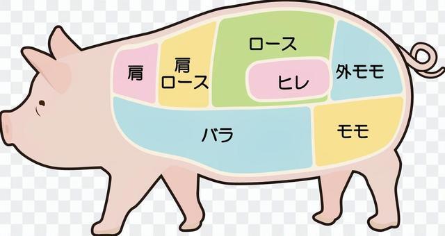 豬肉部分例證Rimed