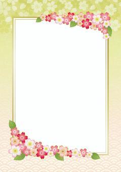 春天裝飾框架與櫻花和葉子02