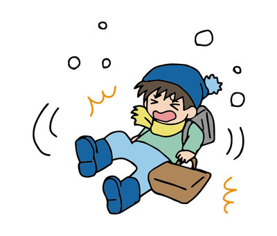 上下學途中跌倒在雪路上或在結冰的路上受傷