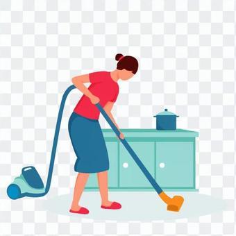 女人打掃廚房