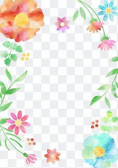 花和葉子_水彩框架_垂直2014年