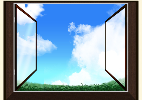 從雙層玻璃窗看到的草地景觀