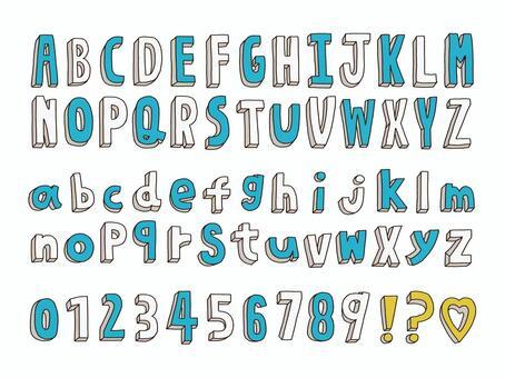 可愛的手繪字母和數字集