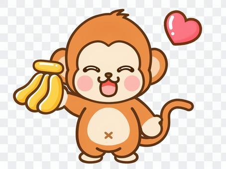 對香蕉感到滿意的猴子的插圖素材