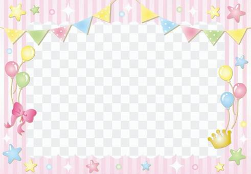 Flag star stripe frame (pink)