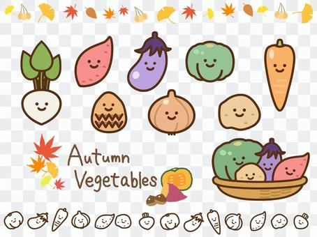 Autumn vegetable icon (with face)