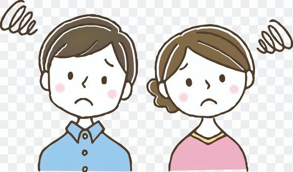 悩む考える夫婦/手描き/かわいい/困る