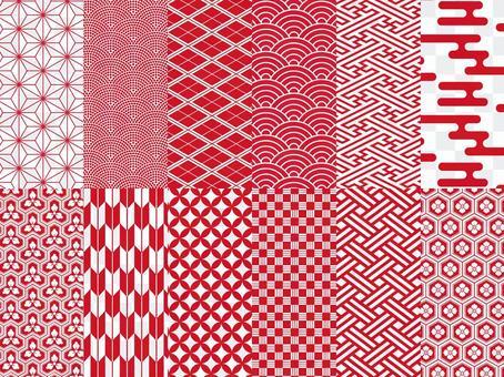 日式花紋12款套裝/紅色/新年