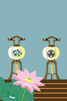 盂蘭盆和粉紅色蓮花藍精靈的大小