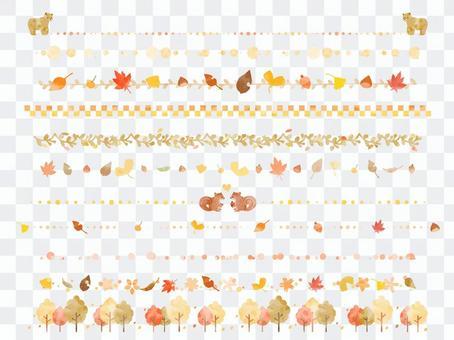 可愛的水彩線設置與秋天的形象