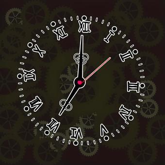 歯車 機械 模様 回る 動く 時計