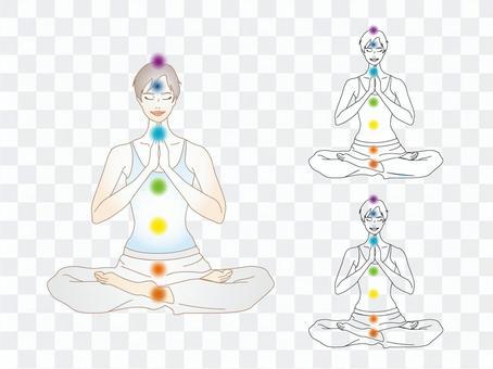 一個女人在意識到脈輪的同時正在冥想