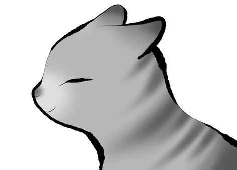 具有日本風格的灰色條紋貓的側面圖