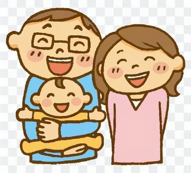 一對夫婦和一個嬰兒(一個大笑)