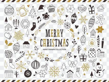 聖誕節手繪線描插圖