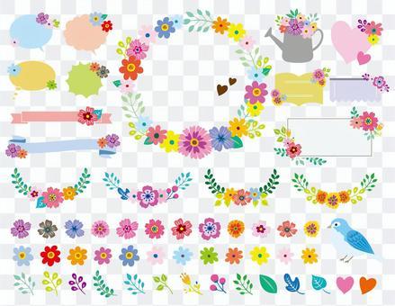可愛的花框架集