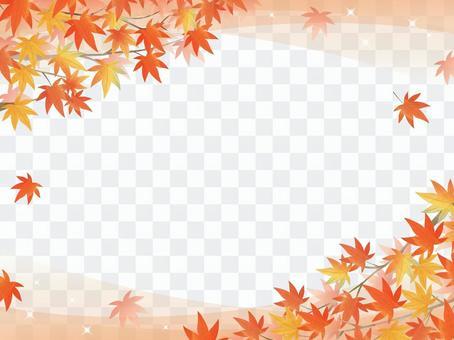 秋葉/水彩風格畫框04 /楓木透明gra