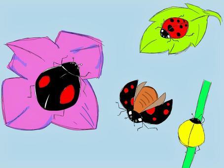 瓢蟲的手寫的樣式例證。