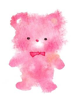 粉紅色的泰迪熊蓬鬆流血水彩