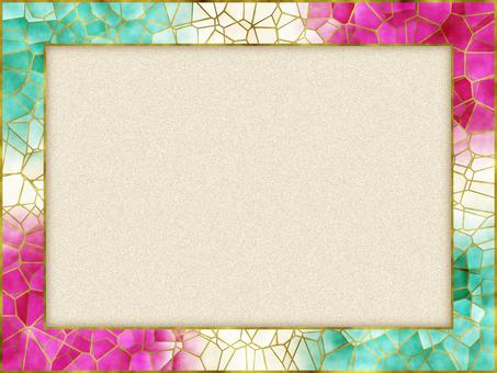 古典框架粉紅綠金邊等級