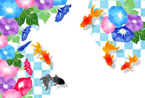 金魚和牽牛花的夏日問候明信片