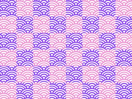 【和柄】市松×青海波:紫