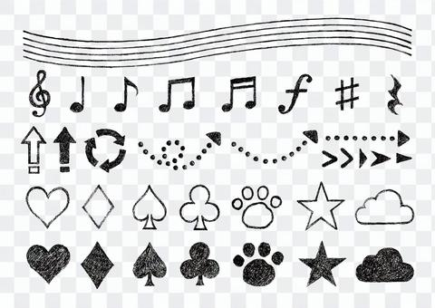 鉛筆描き音符と矢印とトランプマークセット