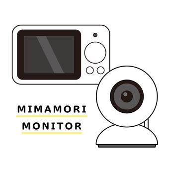 觀看監視器和相機的插圖