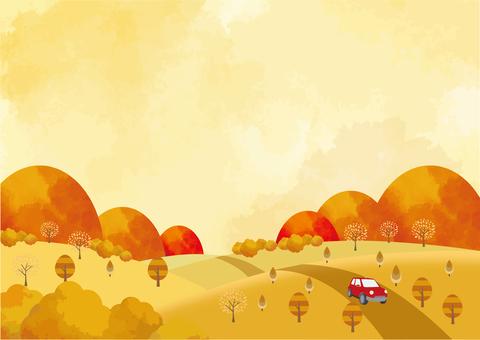 秋駕旅游水彩風格背景素材