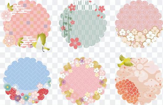 花環與圖案的多彩框架