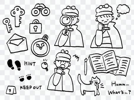 手描き 探偵と猫