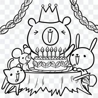 生日派對動物熊兔貓線繪畫