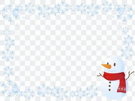 雪和雪人装饰框架的水晶