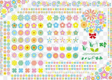 各種花的圖標框架線材料集合