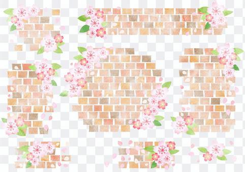 水彩磚和櫻桃框架集透明螞蟻