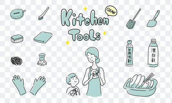 簡單的廚房清潔工具圖標