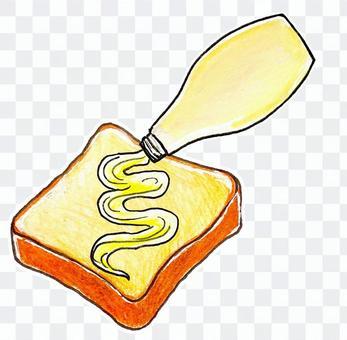 マヨネーズをパンにつける